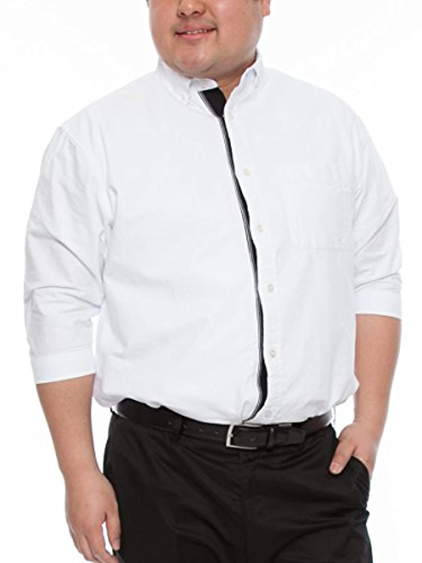 パプアニューギニア究極のペック(ビーアンドティークラブ) B&T CLUB 大きいサイズ メンズ 無地 7分袖 オックス フロントリブ ボタンダウン シャツ 393900Z ホワイト / X2