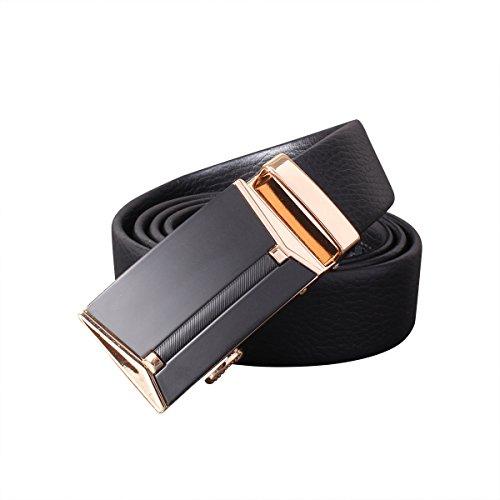 おずこ(OZUKO)ベルト メンズ 本革 ビジネス 紳士 ロング 穴無し オートロック式 サイズ調整可能 おしゃれ (ブラック)