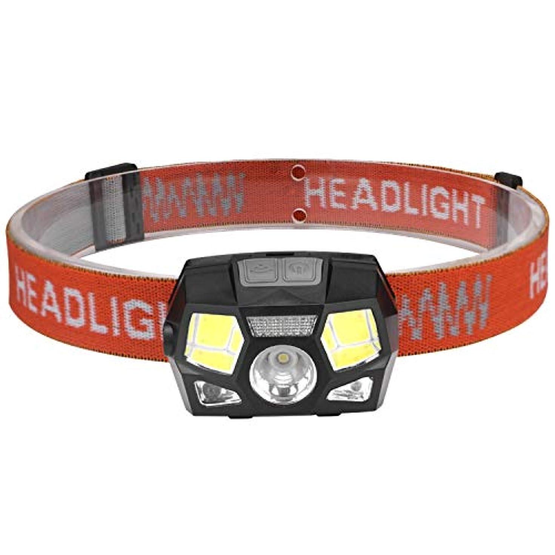 コントローラ勘違いするグレー超高輝度LEDヘッドランプ、5つの照明モード、白と赤のLED、調節可能なストラップ、防水、ランニング、キャンプ、ハイキングなどに最適,黒