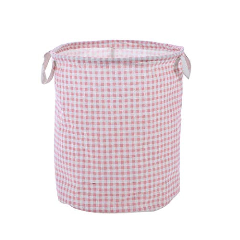 uxcell 収納バスケットセット ビン ケース ホルダー オーガナイザー コットンリネン 折り畳み式 家の装飾 服 玩具 30 x 41cm グリッドのパターン ピンク
