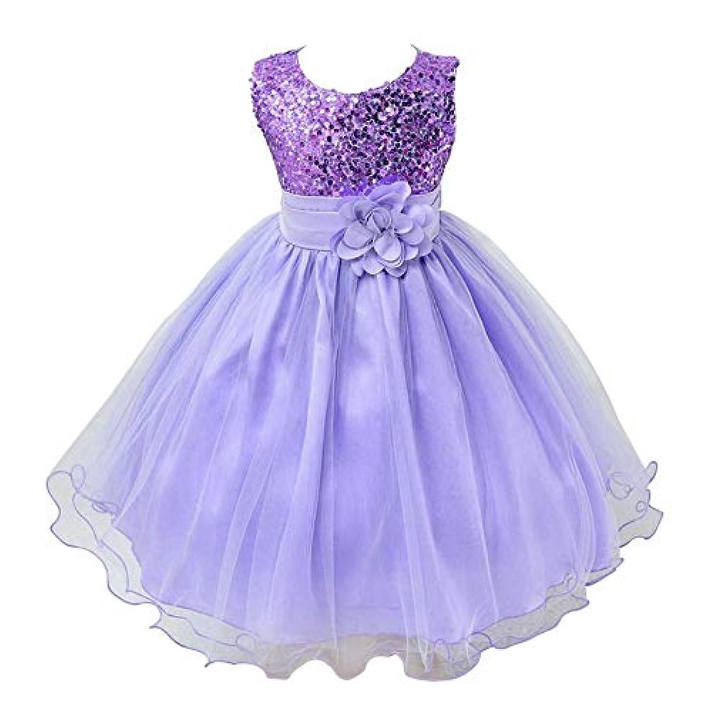多年生関係ない大砲女の子プリンセスドレスハロウィン子供服夏フラワーガールドレスシンデレラ衣装ショードレス-紫140 cm