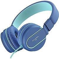 AILIHENヘッドフォン 軽量 折りたたみ式 マイク付き 有線ヘッドフォン 可調ヘッドバンドヘッドセット 携帯電話 PC などに対応ヘッドホン (ブルー)