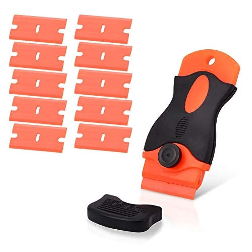 フリッパー非行塊Ehdis カーステッカーリムーバープラスティックブレードトライアンフ1.5インチスクレーパー10枚のプラスチック製カミソリブレードエッジを使用して、柔らかい表面にラベルのグルーを残す