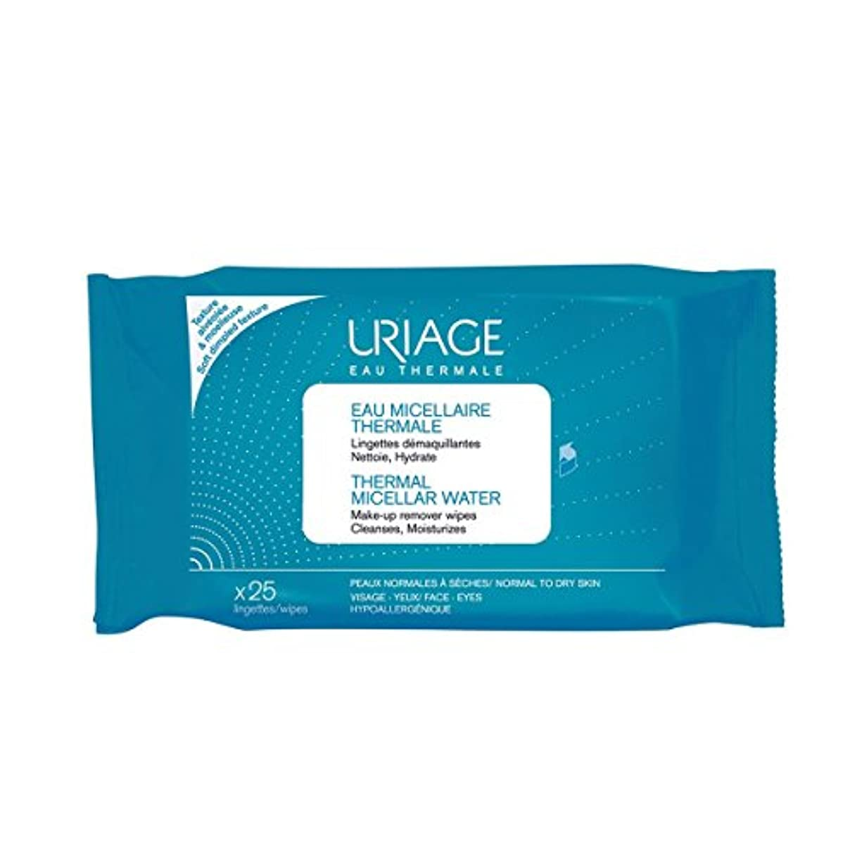 重大エアコン書くUriage Thermal Micellar Water Make-up Remover Wipes X25 [並行輸入品]
