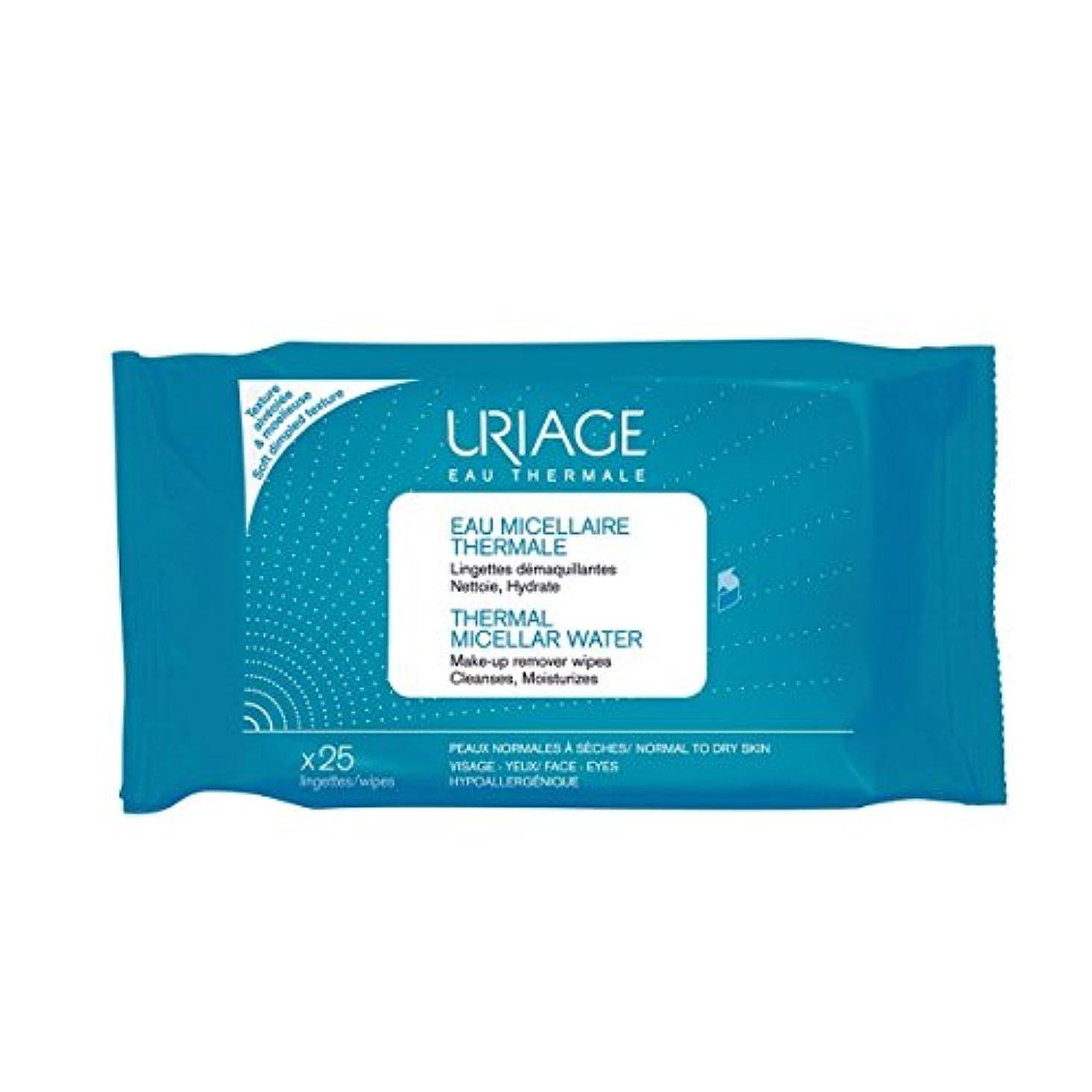 民主党文字添加剤Uriage Thermal Micellar Water Make-up Remover Wipes X25 [並行輸入品]