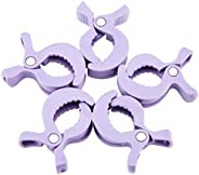 Mamimami Home 毛毯夾 安全材料 5個 紫色 嬰兒車 地釘 大號 塑料 夾 蚊帳 膝毯夾 鞋夾 奶嘴夾 防掉落 防丟失
