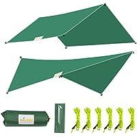 WOWSEA 防水タープ 多機能 天幕 シェード 軽量 携帯便利 アウトドア キャンプ ハイキング用 タープセット