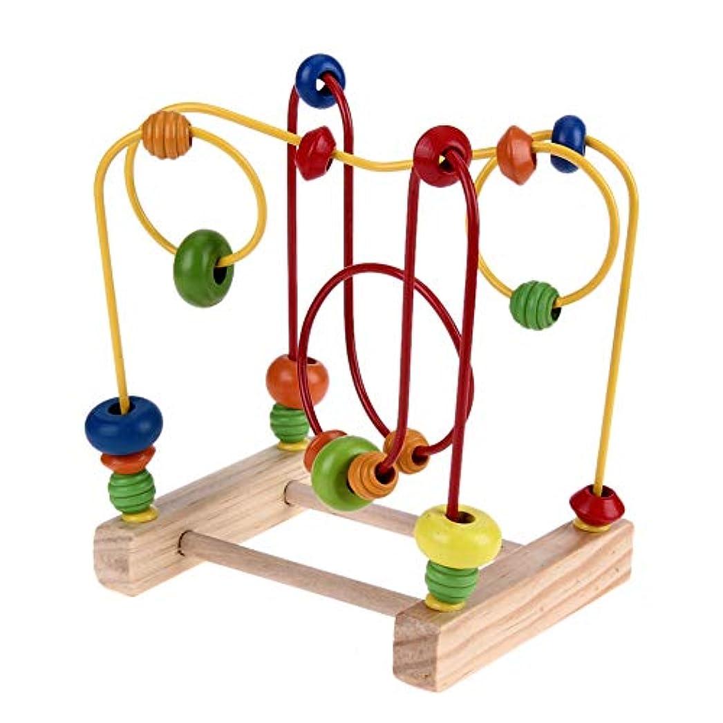 額宇宙同一の脳ゲーム 木製ビーズ迷路、ビーズ迷路の周り木製ベビー幼児のおもちゃは子供のために適した木製ミニビーズ迷路ローラーコースターパズル、子供パズルシェイプ 安全で無害 (Color : Multi-colored)