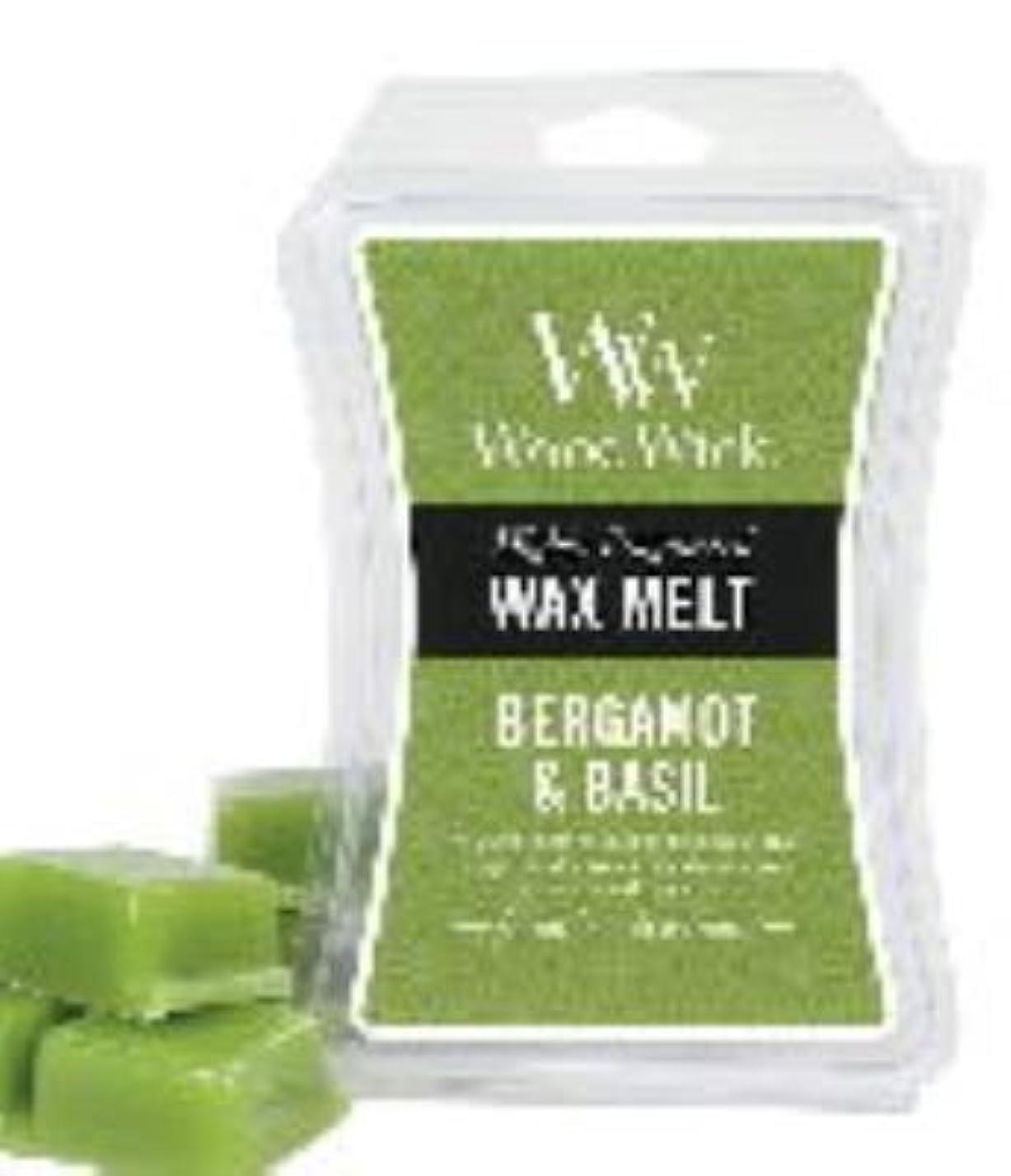 タップうがい薬伝えるベルガモット& Basil WoodWick砂時計3オンスワックスMelt