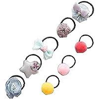 8個のかわいい赤ちゃんの女の子のロープの綿のストレッチ弾性バンドのヘアロープアクセサリー