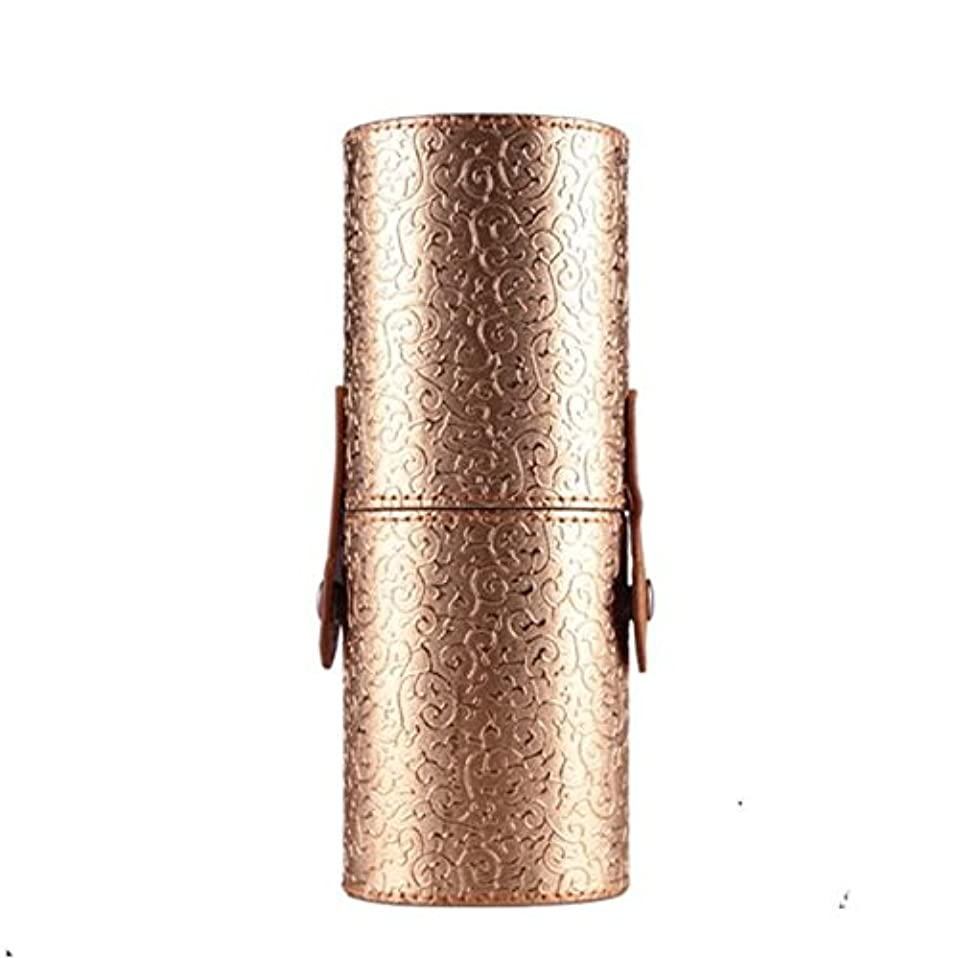 溢れんばかりの死にかけているウルルFortan化粧ポーチ PU革 雲紋 化粧ブラシ 収納筒 メイクボックス コスメポーチ メイクアップポーチ 携帯し易い (金色)