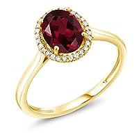 Gem Stone King 1.35カラット 天然 ロードライトガーネット 天然 ダイヤモンド 10金 イエローゴールド(K10) 指輪 リング