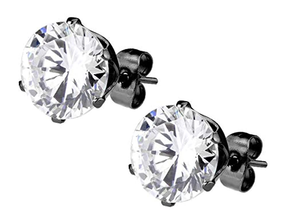 タービン評論家無礼にステンレス鋼ブラックIPメッキラウンドカット2.6 CT CZメンズの模造ダイヤモンドスタッドイヤリング