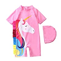 Baby/Toddlers/Girls One Piece Unicorn Swimsuit Kids Swimwear Beach Bathing Suit Rash Guard with Sun Cap