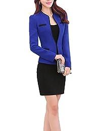 レディース スーツ ジャケット スカート セット オフィス 2点セット 上下セット クールビズ OL 通勤 エレガント シルエット 大きいサイズ スーツセット フォーマル (S, ロイヤルブルー)
