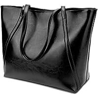 YALUXE Women's Genuine Leather Laptop Tote Shoulder Bag Handbag Purse Fits 15.6 inch Vintage Style Soft Hobo Work Bags