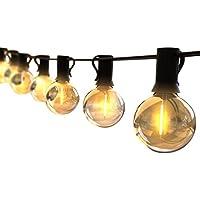 【2020最新版】ストリングライト 防雨型 5.5m LED電球 12個G40 E12口金 電球色 PC素材 破損しにくい 屋内/屋外 照明 誕生日 ガーデンライト 庭 祭り 商店街