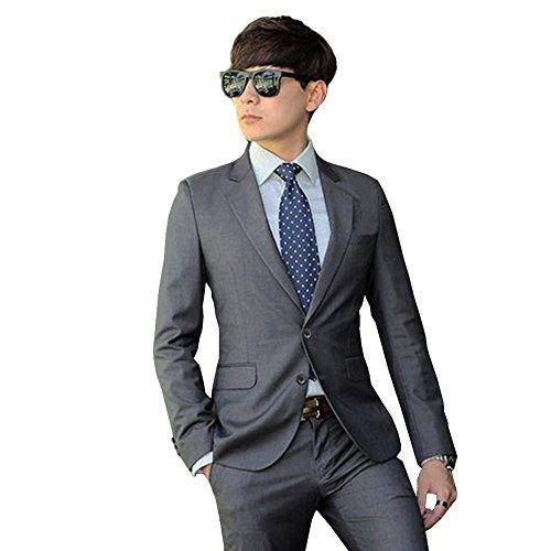 [FERE8890] メンズ スーツ ビジネス フォーマル コート ズボン ワイシャツ 通勤 痩せ型 激安 リクルート スリーピース 2つボタン 一つボタン 紳士服 ジャケット ユニーフォーム スリム 仕事 4点セット オールシーズン 2つボタン グレー M