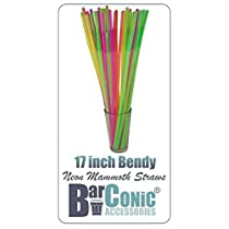 17 Inch Mammoth Bendy Straws - ASSORTED NEON by Barproducts.com, Inc.