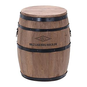 不二貿易 樽型スツール 高さ40cm 天然木 ブラウン 31882
