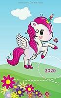 2020: Journal 2020 pour les enfants / adolescents - Une page par jour / Agenda / Écriture de journal / Journal de gratitude / Journal de famille / Licorne mignonne et papillon