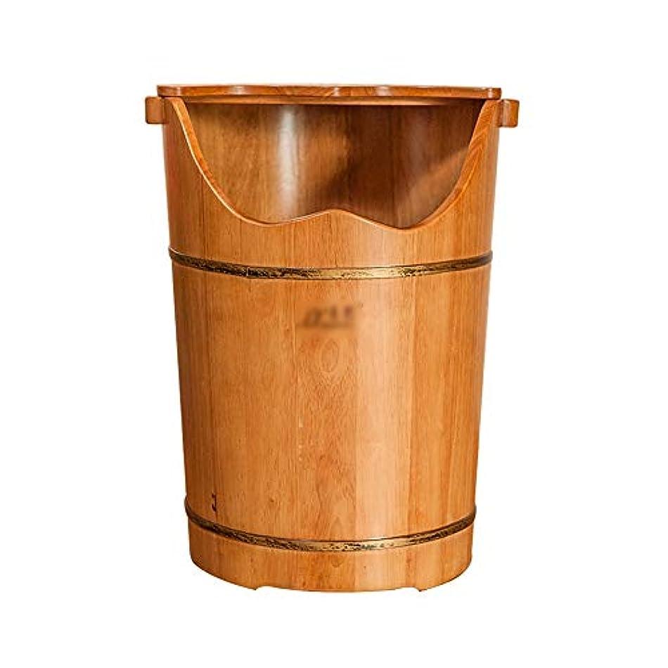 悪性の美容師満員LJHA 木製フットバス用バケツ - フタフットマッサージ洗面器で60cm / 23.6インチの高さ 足浴槽