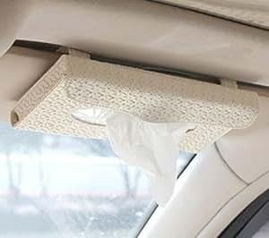 車内 ティッシュケース 天井取り付け型 挟むだけ ハーフサイズ ホワイト