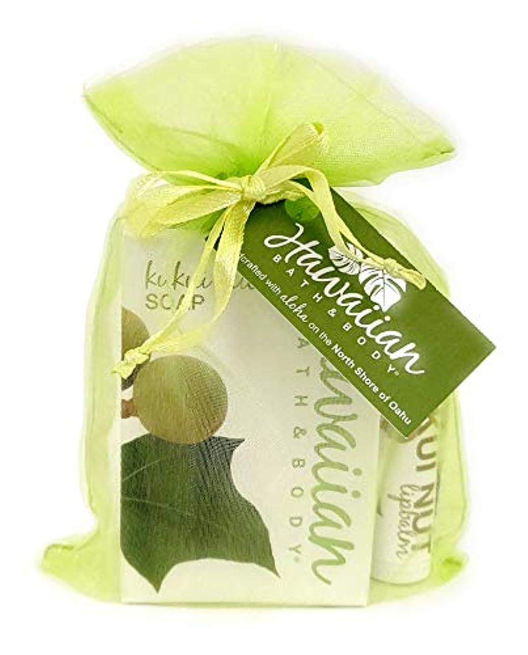 ピクニック薄めるルームHawaiian Bath&Body ククイナッツソープ&ククイナッツリップバームセット (グリーン)