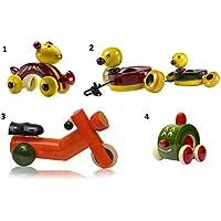 4ピース木製プッシュプル赤ちゃんおもちゃセット:モデルow-gl003