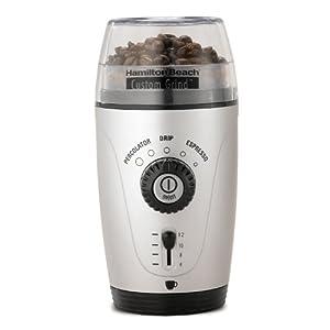 ハミルトンビーチ コーヒー グラインダー 並行輸入品 Hamilton Beach 80365 Custom Grind Hands-Free Coffee Grinder, Platinum