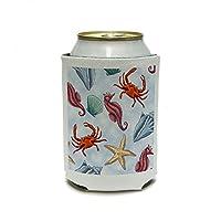 シーライフ - ブルー缶クーラー上の貝殻タツノオトシゴカニヒトデは絶縁飲料絶縁ホルダードリンク