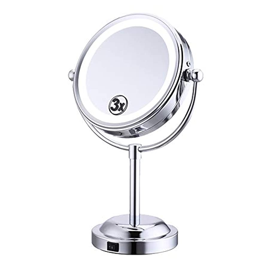 自然不明瞭ハンサム化粧鏡 3倍 拡大鏡 LED ライト付き 拡大+等倍 両面鏡 スタンドミラー 卓上 メイクミラー 360度回転 卓上ミラー 浴室鏡 女優ミラー 真実の鏡
