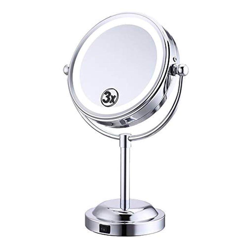 船形ハム小切手化粧鏡 3倍 拡大鏡 LED ライト付き 拡大+等倍 両面鏡 スタンドミラー 卓上 メイクミラー 360度回転 卓上ミラー 浴室鏡 女優ミラー 真実の鏡