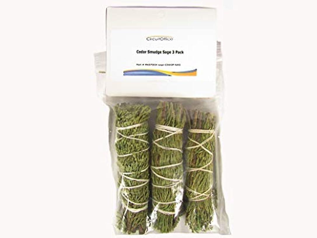 化石選出する健康Cedar smudge sticksバンドルto Burn簡単、3 - Pack、4インチ