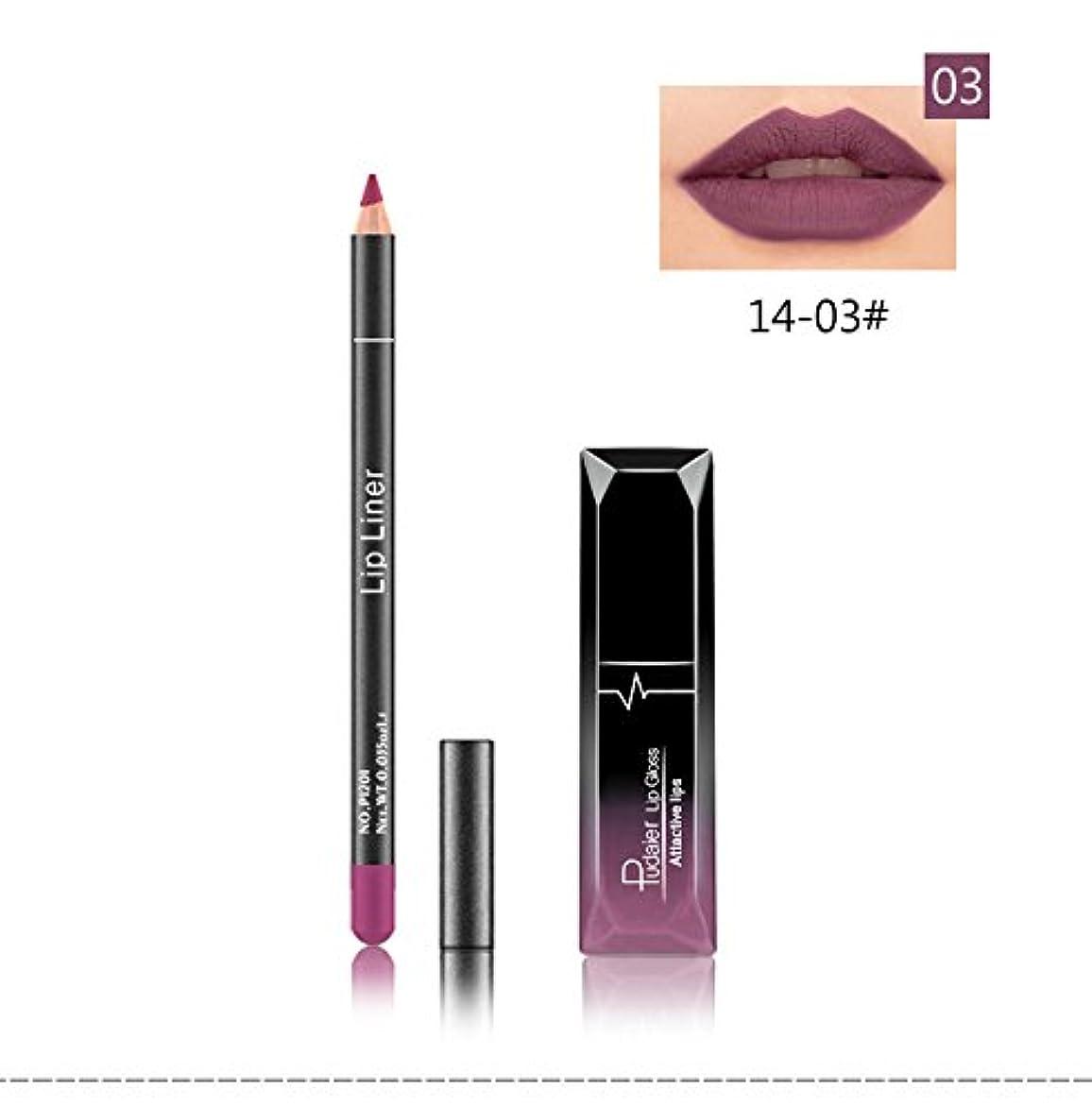 明らかペニー傾く(03) Pudaier 1pc Matte Liquid Lipstick Cosmetic Lip Kit+ 1 Pc Nude Lip Liner Pencil MakeUp Set Waterproof Long...