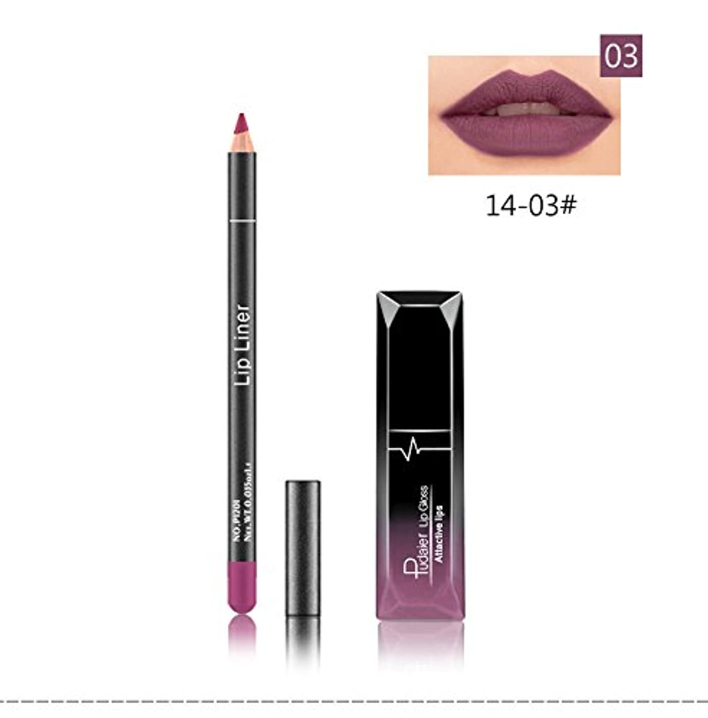 (03) Pudaier 1pc Matte Liquid Lipstick Cosmetic Lip Kit+ 1 Pc Nude Lip Liner Pencil MakeUp Set Waterproof Long...