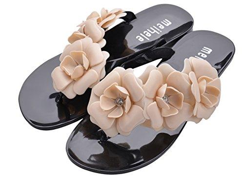【ELEEJE】可愛くてオシャレ!お花がかわいいビーチサンダル&収納袋セット(ブラック,24.5cm)sk25フラワービーチサンダルレディースヒールきれいめサンダル水着リゾート夏ファッション