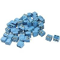 uxcell 端子台 ターミナルブロック ネジ端子ブロック ネジターミナルブロック 300V 12A 14-22AWG スクリューターミナル ブルー プラスチック 50個