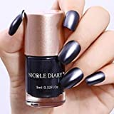 Tradico®9ml Metallic Nail Polish Mirror Effect Black Shiny Varnish Tools NICOLE DIARY