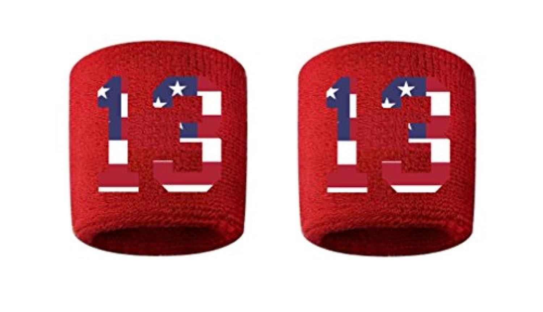 # 13刺繍/ステッチ汗止めバンドリストバンドレッドSweat Band w/USAアメリカ国旗数(2パック)
