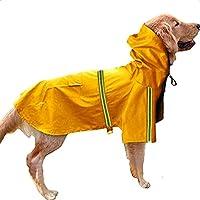 Doppelt 犬のレインコート 犬用 雨具 ファッション プリティー 可愛い 防寒 防水 防雪 シンプルなスタイル ポケットと帽子と反射ストリップ付き 着せやすい お手入れ簡単 梅雨対策 (4XL, イエロー)
