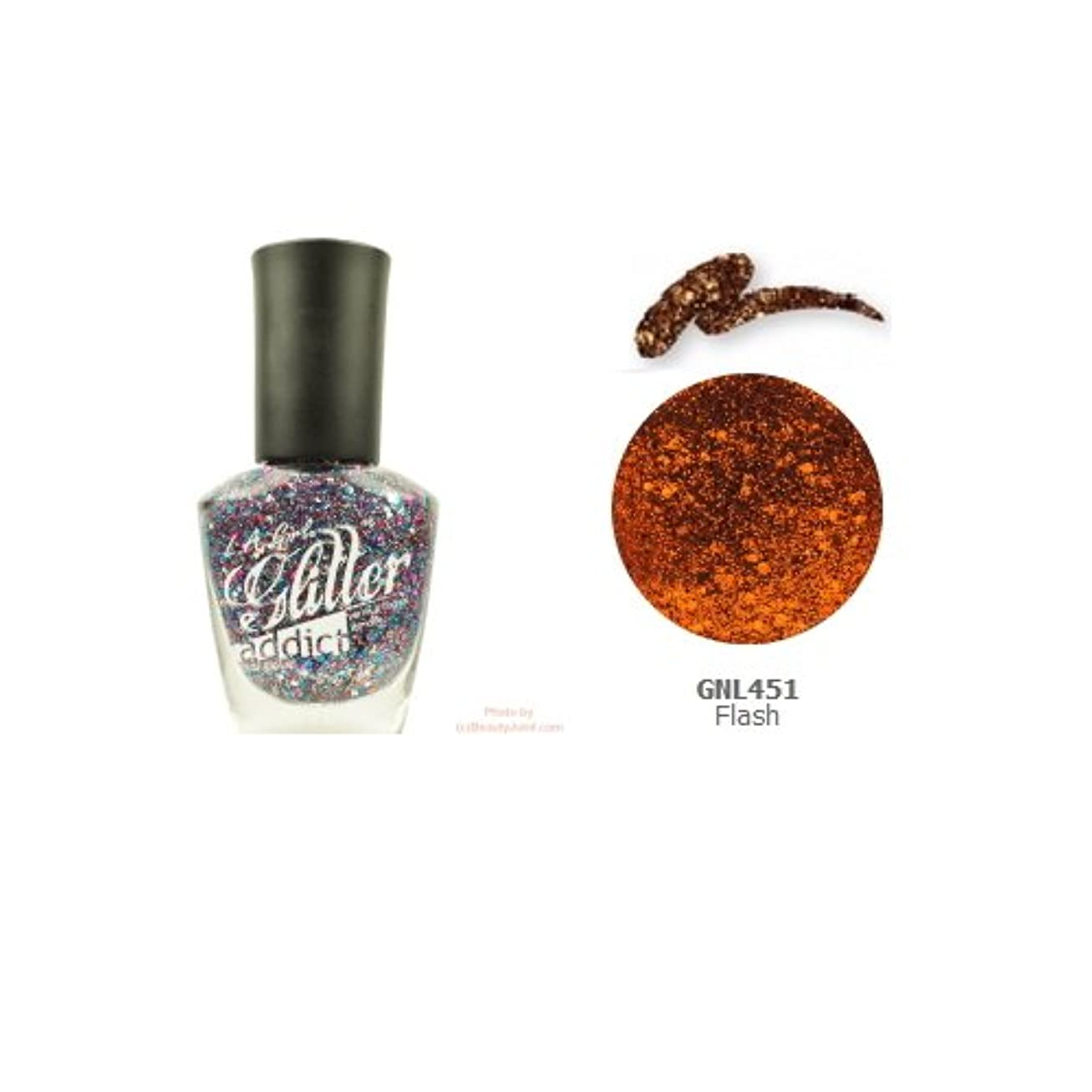 封建白鳥狂気(3 Pack) LA GIRL Glitter Addict Polish - Flash (並行輸入品)