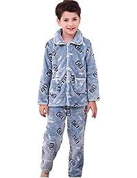 Bwiv 子供 フリースパジャマ 冬 前開き パジャマ キッズ ボーイズ 上下セット 男の子 厚手 長袖 ルームウェア 親子お揃い 柔らかい 部屋着 寝間着 寝巻き 全2カラー6サイズ