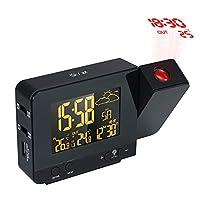 投影アラームベッドルーム液晶デジタル目覚まし時計天気ステーション温度湿度計カレンダーラジオusb充電寝室投影クロック
