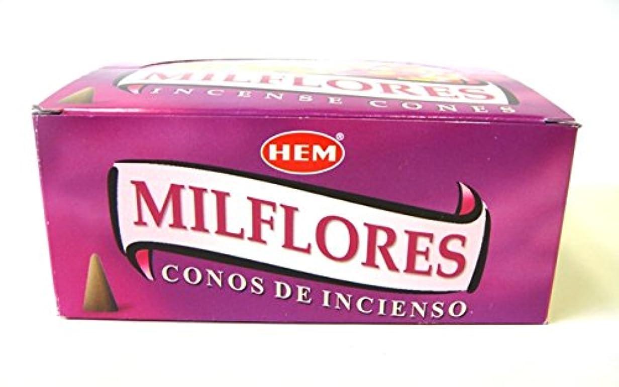 焦げ責任者巨大HEM お香 ミルフローレス香(MILFLORES) コーンタイプ 1ケース(12箱入り) お香コーン