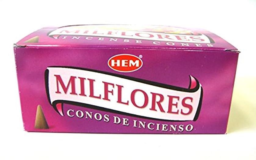 敬意を表する取るに足らない暗いHEM お香 ミルフローレス香(MILFLORES) コーンタイプ 1ケース(12箱入り) お香コーン