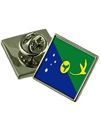 クリスマス島の旗ラペルピンバッジ 18 mm ギフトポーチを選択します