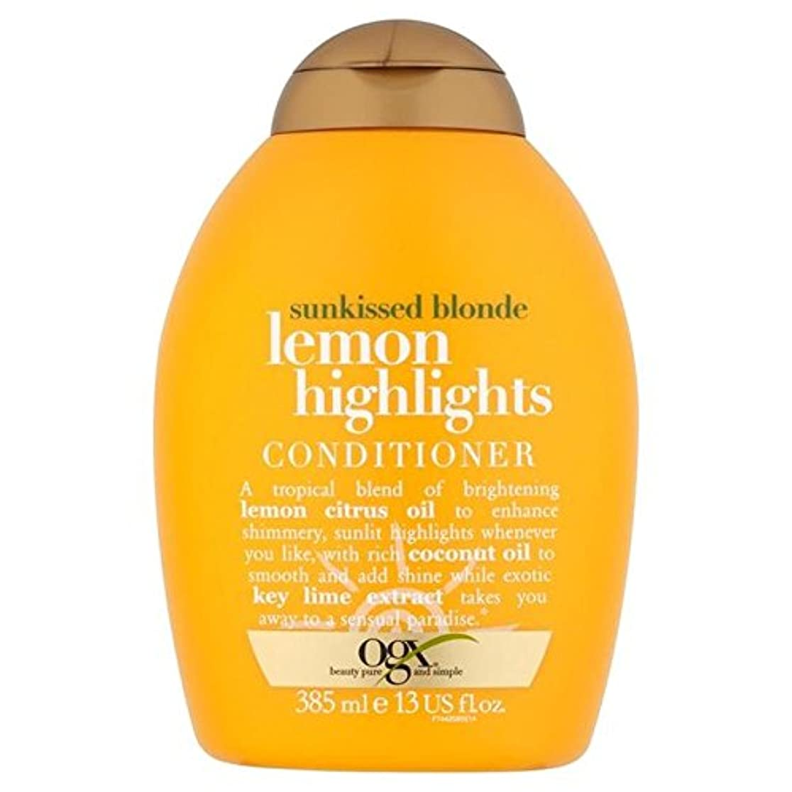 バイソン電子レンジ資本ブロンドレモンハイライトコンディショナー385ミリリットル x4 - Ogx Blonde Lemon Highlights Conditioner 385ml (Pack of 4) [並行輸入品]