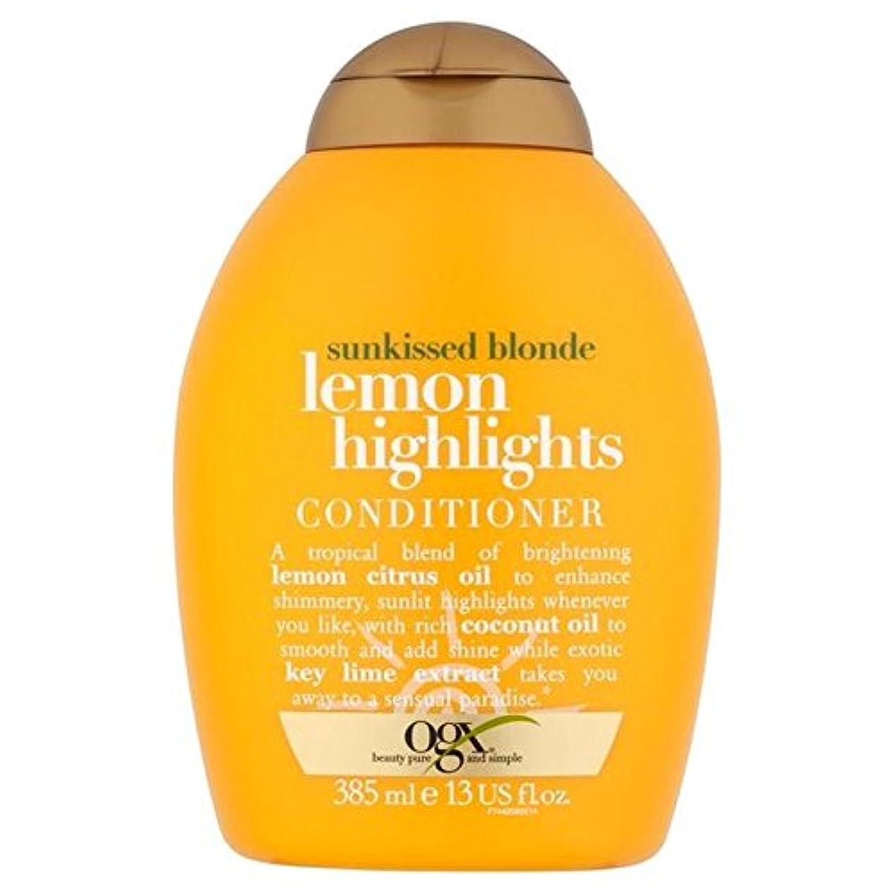 銛楽観的色合いブロンドレモンハイライトコンディショナー385ミリリットル x2 - Ogx Blonde Lemon Highlights Conditioner 385ml (Pack of 2) [並行輸入品]