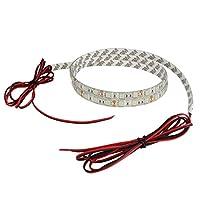 【ケーブル1.5m】 24V 両端子 防水 LED テープライト 3チップ 150cm (白ベース) 発光色:赤色